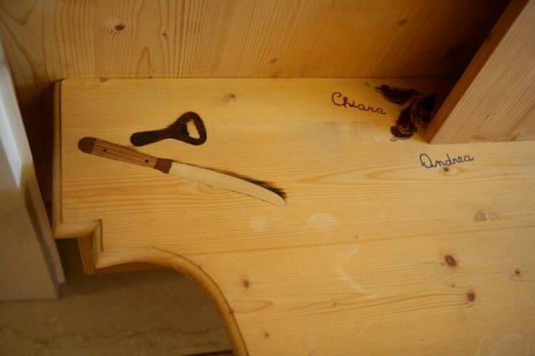intarsio legno vendita: coltello e chiave