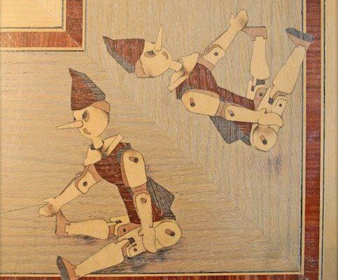 intarsio in legno pinocchio