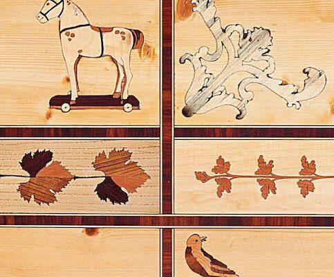 arte e tecnica dell'intarsio: disegni di animali e natura