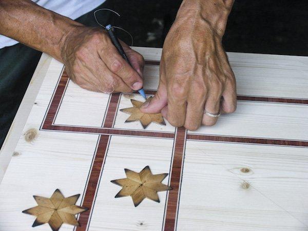 intarsio legno stella